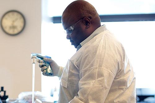 Researcher in lab coat