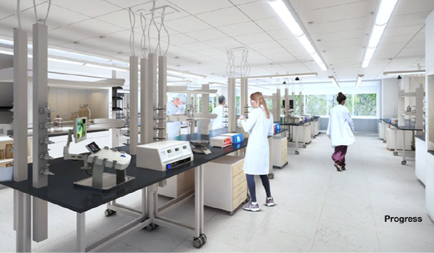 lab technician at work in manufacturing pod