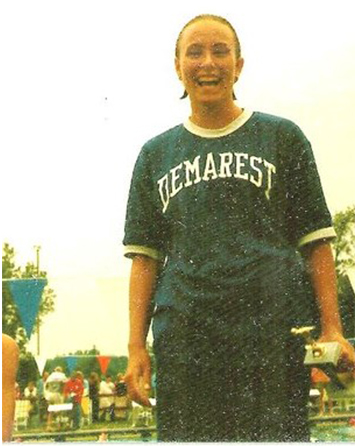 Young Carolyn Matlack wearing sports T-shirt