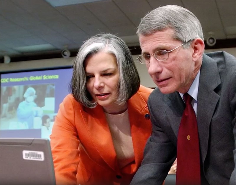 Julie Gerberding and Anthony Fauci working together